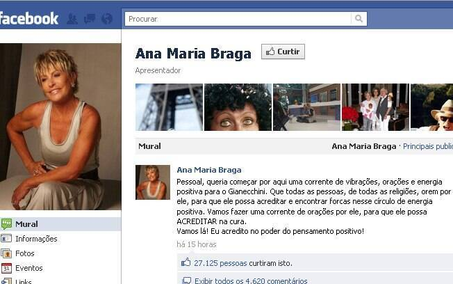Mensagem de Ana Maria Braga no Facebook