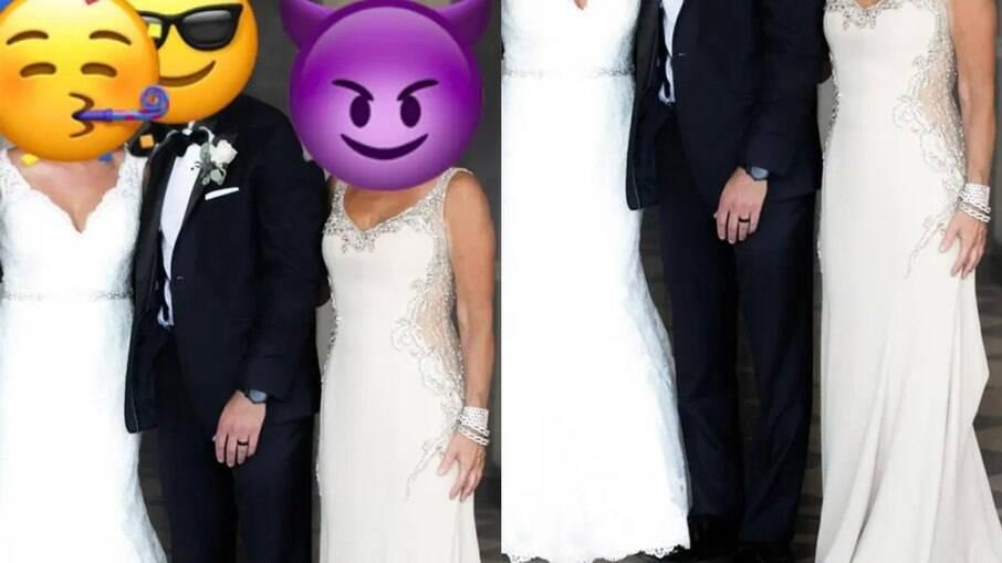 Mãe do noivo usa vestido de noiva em casamento