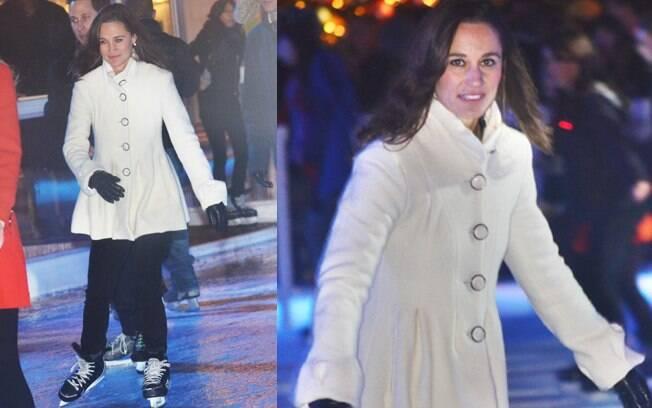 Pippa Middleton patinou no gelo nessa segunda-feira (21)