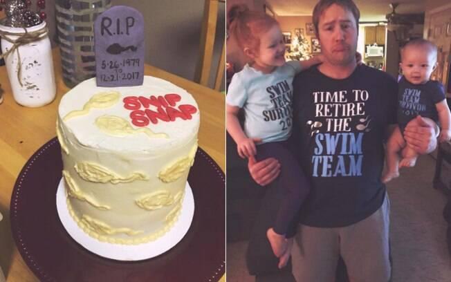 Bolo e camisetas especiais para a festa surpresa para comemorar a vasectomia do marido