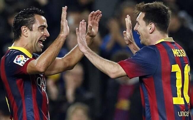 Xavi e Messi jogaram juntos pelo Barcelona por 11 temporadas e formaram grande parceria