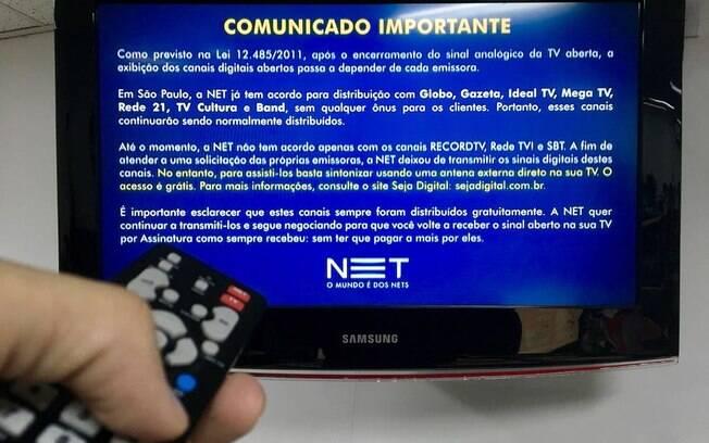 Operadoras NET, Claro, Sky e Embratel perderam o sinal digital da Record, Rede TV! e SBT e desrespeitaram clientes