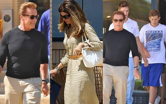 Arnold Schwarzenegger, Maria Shriver e dois filhos do casal, Patrick e Christopher