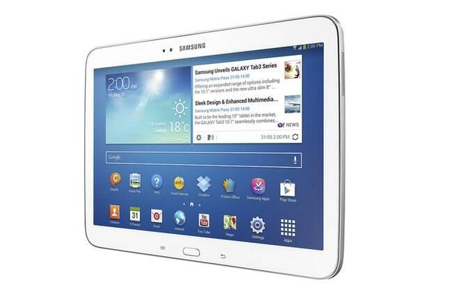 Galaxy Tab 3, com tela de 10,1 polegadas, possui processador potente e bateria de longa duração