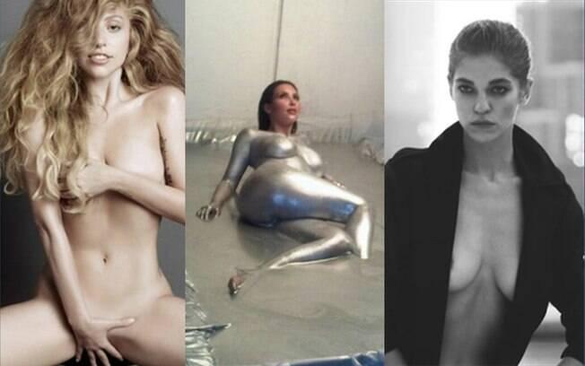 Lady Gaga pela revista V, Kim Kardashian pela W e uma modelo pela Lui