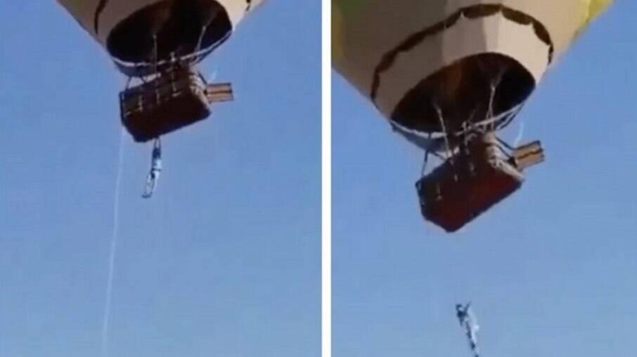 Vídeo mostra momento de queda de homem de balão