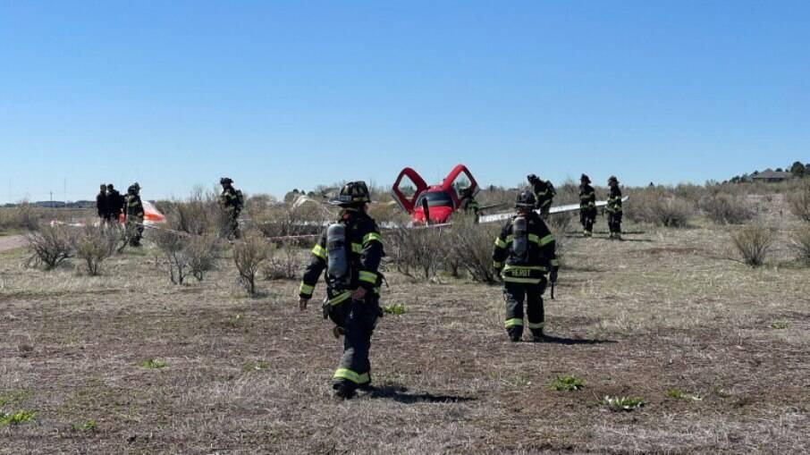 Aeronave caiu em um campo próximo à reserva de Cherry Creek