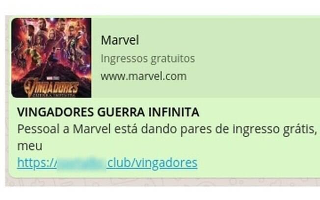 Mensagem compartilhada no WhatsApp supostamente leva ao site oficial da Marvel, mas ao clicar usuário é levado a site falso