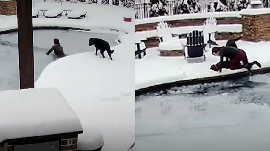 Mulher salva cachorro de piscina congelada