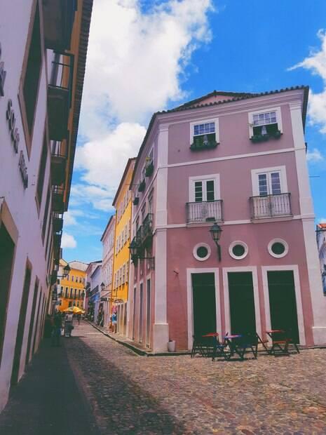 Construção rosa, localizada no Pelourinho
