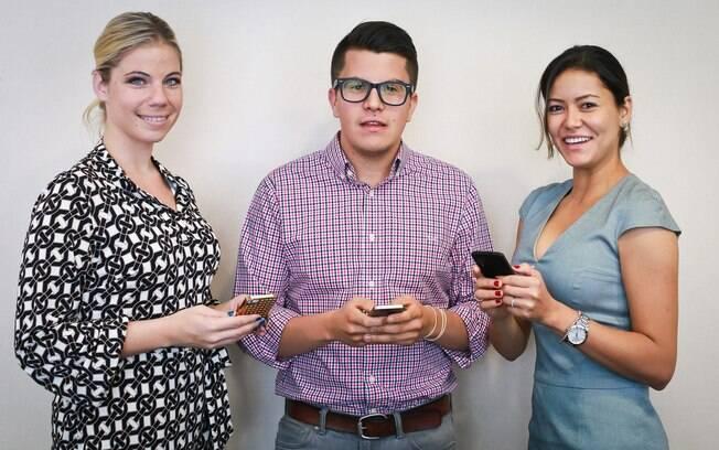 Julie Mosser, diretora de comunicação, Eric Ruiz, diretor de vendas para a América Latina, e Flavia Sasaki, chefe do programa de transmissão e de parcerias corporativas