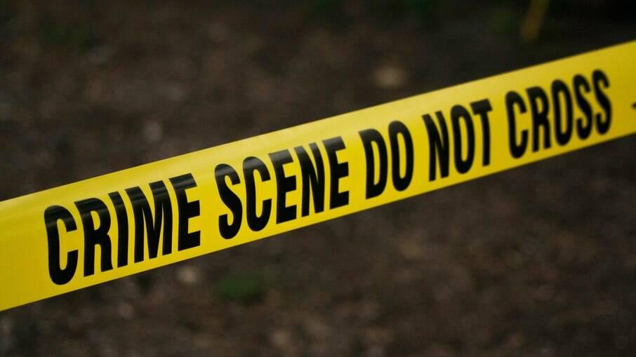 Faixa de limite de cena do crime da polícia americana