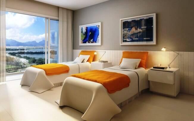 Imagem que mostra como ficarão os quartos da  Vila Olímpica em 2016