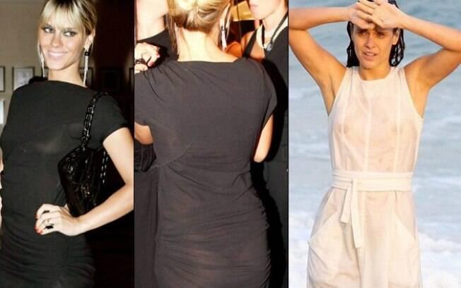 Carolina Dieckmann em dois momentos: visual preto em evento e roupa branca após mar. Ambos ficaram transparentes