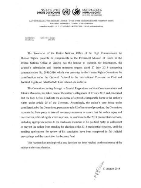 Documento da ONU sobre a candidatura do ex-presidente Lula nas eleições