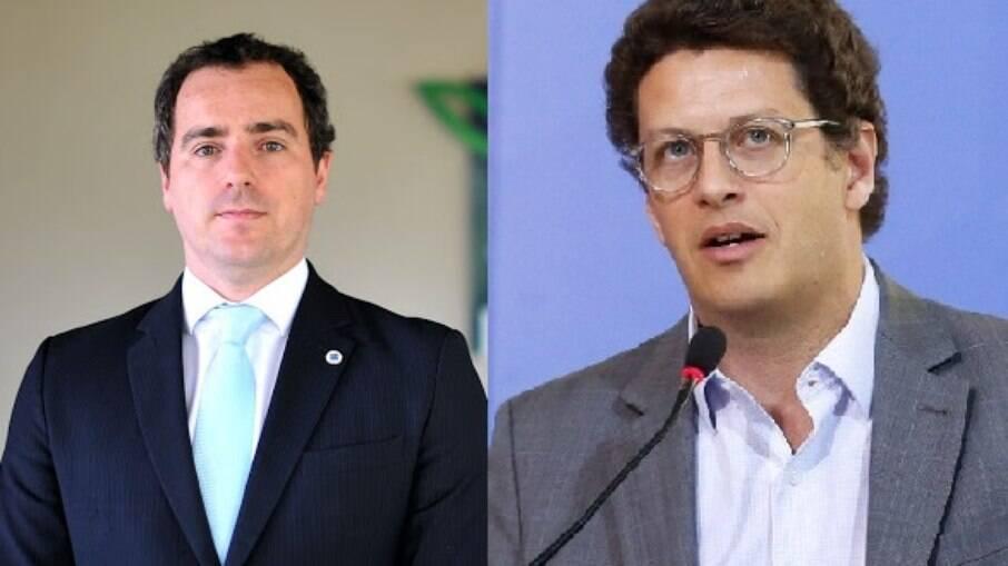 Presidente do Ibama, Eduardo Bim, e ministro do Meio Ambiente, Ricardo Salles