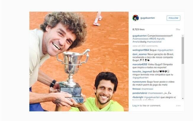 Guga,  tri campeão de Roland Garros,  comemorou vitória de Melo no instagram.