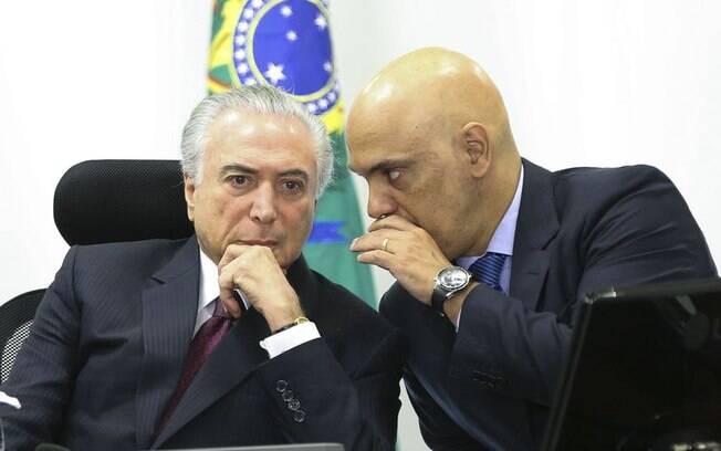 Michel Temer em reunião com o ministro, Alexandre de Moraes: