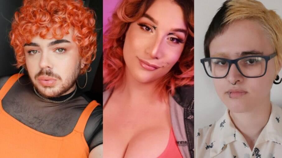 Gui Lopes Teixeira, Bryanna Nasck e Júpiter Coelho, respectivamente, são pessoas não-binárias