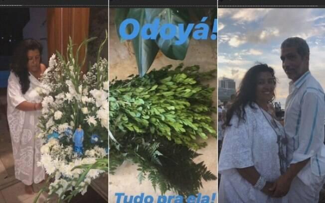 Regina Casé passa dia de Iemanjá com marido