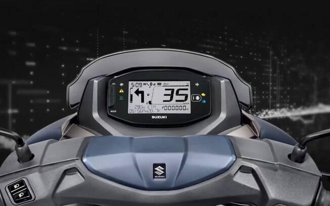 O painel digital do Suzuki Burgman Street 125