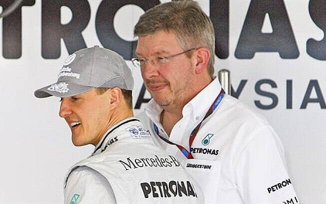 Ross Brawn e Michael Schumacher na época de Mercedes
