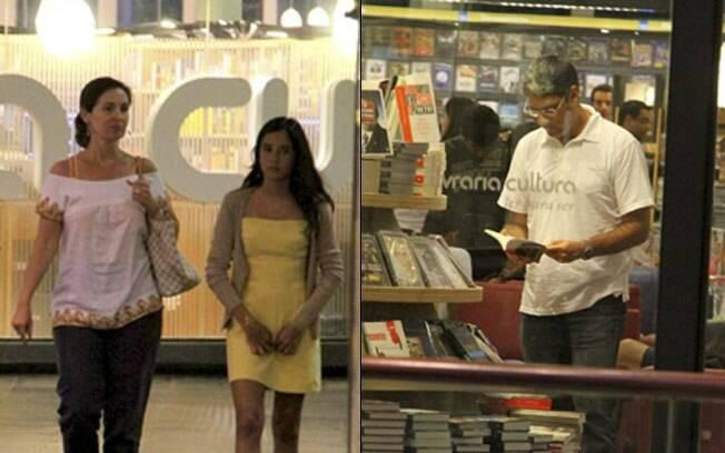 Na esquerda, Fátima Bernardes passeia com a filha. Na direita, William Bonner folheia um livro na livraria