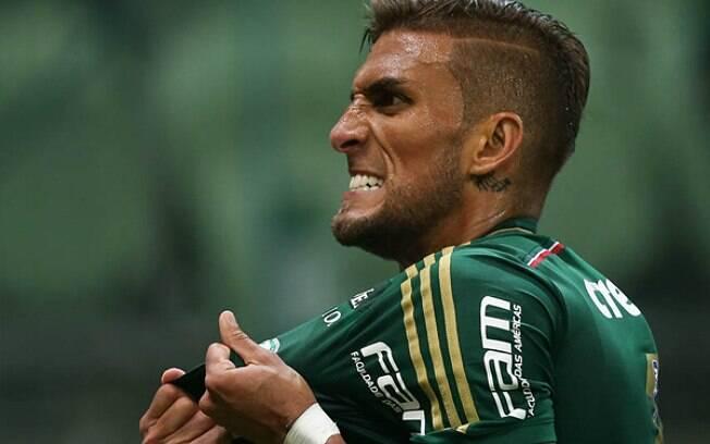 Rafael Marques comemora o primeiro gol do Palmeiras sobre o Corinthians. Foto: Cesar Greco/Ag. Palmeiras/Divulgação