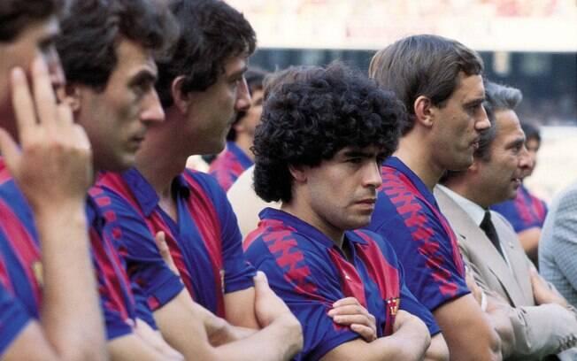 Maradona com o Barcelona nos anos 80