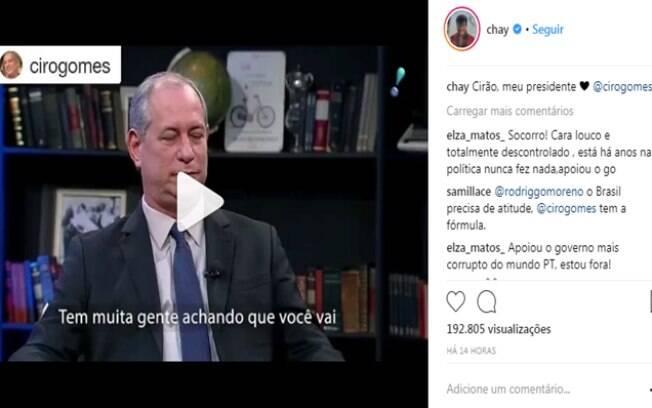 No Instagram, Chay Suede deixou de lado a ideia de que voto é coisa secreta e declarou seu apoio ao candidato à presidência do Brasil, Ciro Gomes