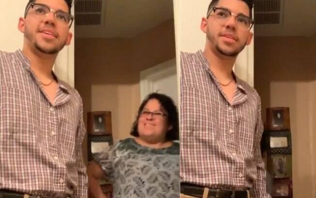 Clayton Walker, dos Estados Unidos, deixou a mãe emocionada ao usar uma camisa que pertencia ao pai para sair com ela