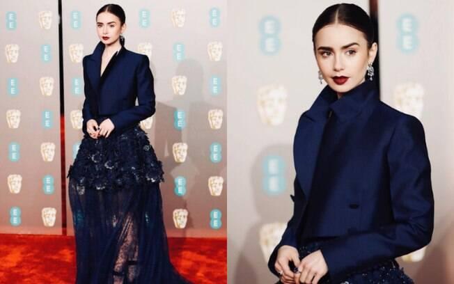 Looks das famosas: Lily Collins compareceu ao tapete vermelho do BAFTA com uma peça Givenchy de alta costura