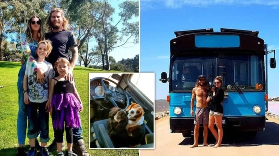 Casal vende casa para viver dentro de um ônibus com os filhos e dois cachorros