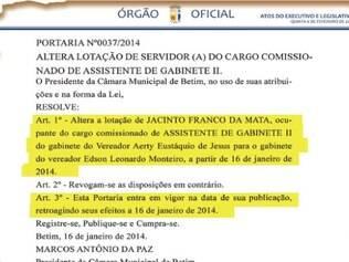 Órgão Oficial. Após saída de Léo da Semas, Jacinto foi exonerado e readmitido no gabinete do vereador