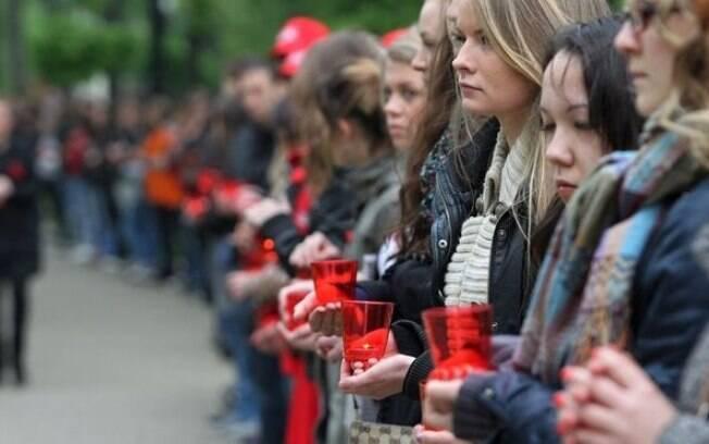 Uma vigília em 2011 em Moscou para o Dia Mundial de Luta contra a Aids