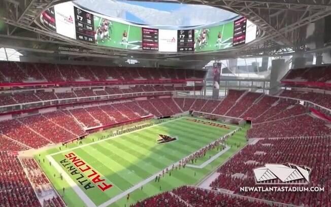 Projeto do estádio visto de dentro em partida da NFL