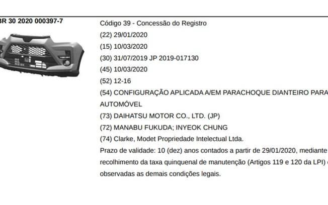 SUV da Toyota tem algumas peças registradas no INPI mostrando que o carro se baseia no Raize vendido no Japão