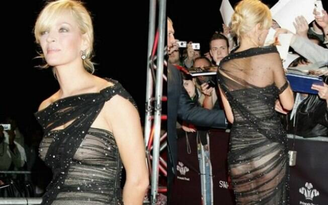 O vestido esquisito de Uma Thurman acabou revelando ausência de sutiã e outros detalhes do corpo da atriz