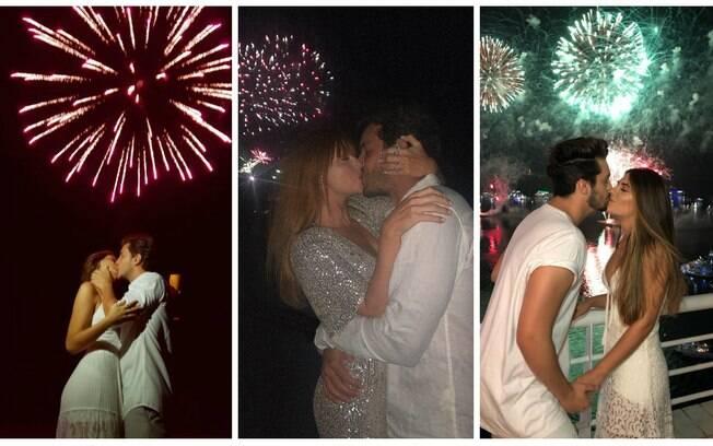 Camila Queiroz e Kléber Toledo, Marina Ruy Barbosa e Luan Santana passaram o fim de ano aos beijos com seus companheiros