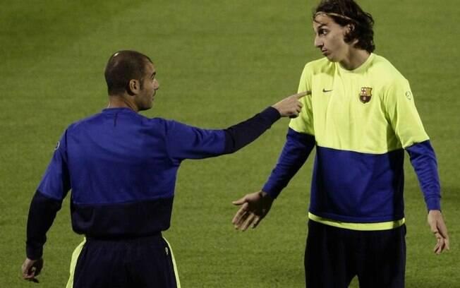 Ibrahimovic e Guardiola trabalharam juntos no Barcelona em 2009 e 2010