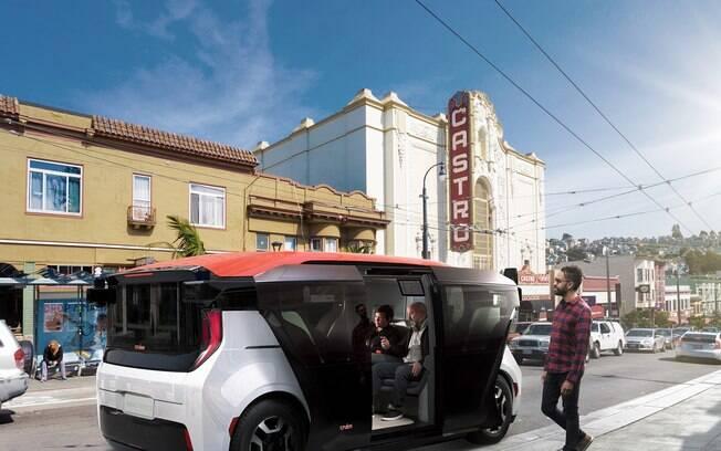 Um protótipo do carro autônomo Cruise Origin foi demonstrado para a imprensa nas ruas de São Francisco nos Estados Unidos
