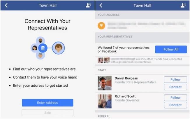 Conhecido como Town Hall, recurso apresentado pelo Facebook exibe lista com informações de contato de políticos