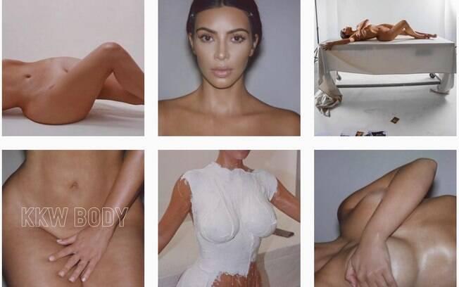 Kim Kardashian tem publicado muitas fotos onde aparece seminua