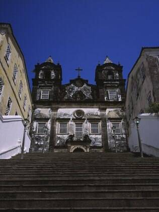 Escadaria do Senhor do Bonfim, que é lavada por baianas na quinta-feira depois do Dia de Reis