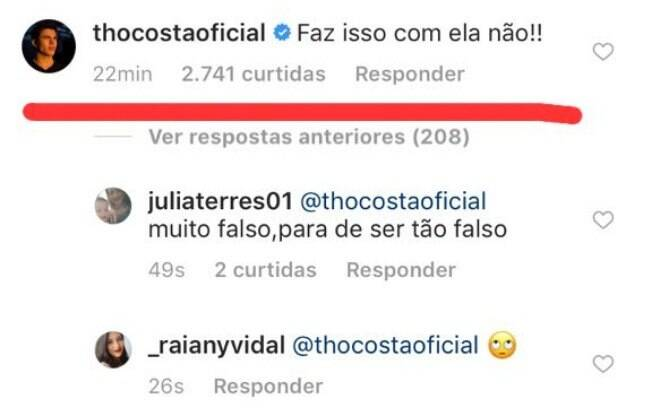 O ex-namorado de Larissa, o ator Thomaz Costa, comentou na publicação: