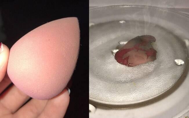 Uma usuária do Twitter publicou imagem do antes e depois de tentar o truque com a esponja de maquiagem