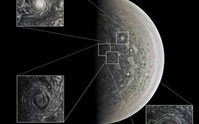 JunoCam registrou tempestades polares gigantes em Júpiter