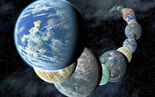 Impressão artística de planetas potencialmente habitáveis.