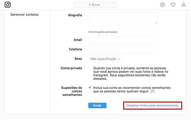 Para desativar seu perfil no Instagram de forma temporária, acesse as configurações de seu perfil