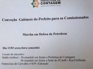 Suposta convocação não tem assinatura oficial da prefeitura de Contagem